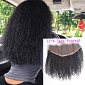 Fedex Free Virgin Kinky Hair Lace Frontal Closure 13x4 Kinky Curly Frontal Ear To Ear Lace Closure Bleached Knots
