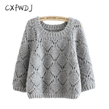 Pullover Pull Cxfwdj Autumn Preppy Style Sweater New Women's Clothing Round Neck Thin Section Hedging Large Size Loose Hollow