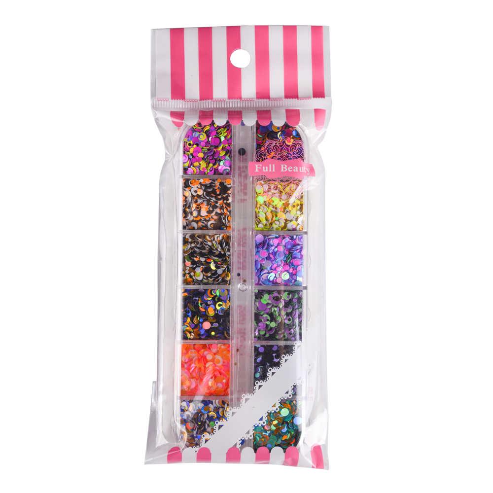 12 redes mixto Color de uñas de 1/2/3mm 3D lentejuelas Paillette polvo encantos de uñas arte decoración manicura CHPA-F-1