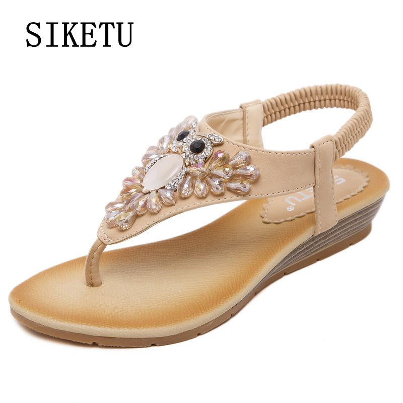 SIKETU 2017 summer new woman fashion sandals slope casual comfortable diamond beads women sandals large size banquet sandals 40