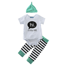 baby clothing set spring children's clothing suits 2017 summer hat+hi letter romper+stripe pant cute 3pcs girl boy clothing sets