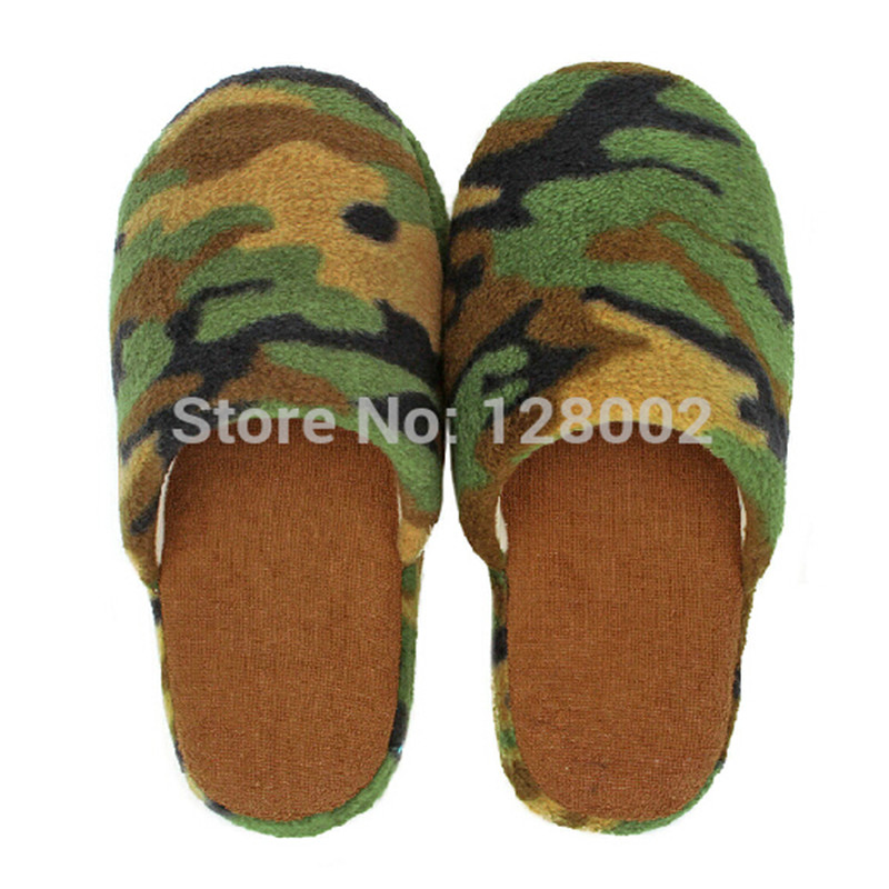 New Hot Winter Home Soft Sole Cotton padded Camouflage Army Green Slippers Indoor Floor Warm Slippers