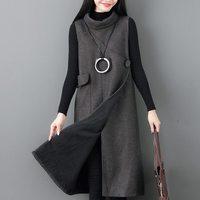 Mferlier Winter Dresses Turtleneck Women Sleeveless Big Pocket Split Hem One Button Solid Loose Fleece Warm Ladies Dresses