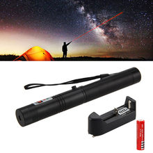 On sale Powerful Green Laser Pointer Pen Lazer Visible Beam with Star Cap +18650 Battery + Charger Black