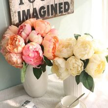 1 bouquet wholesale cheap colorful round rose flowers peony artificial wedding hand-held for home decoration