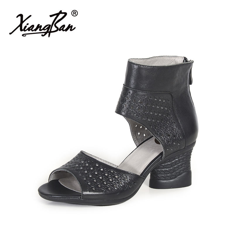 2019 Summer Gladiator Sandals High Heel Women Shoes Hollow ...