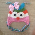 New quality baby girl rainbow style hat,animal owl caps,handmade crochet girl bowknot hat with earflaps baby photography props