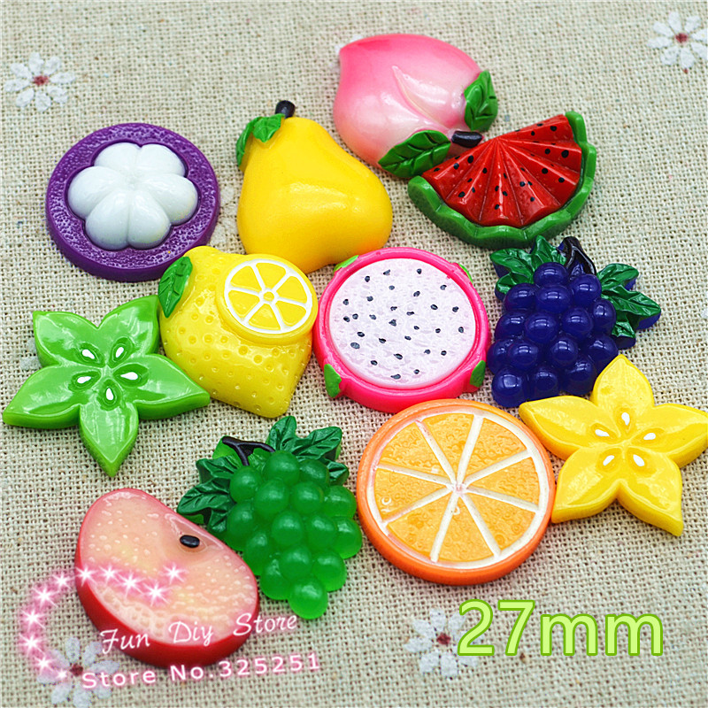Resin fruit mix design flat back cabochon for DIY decoration,hair bow center, 50pcs