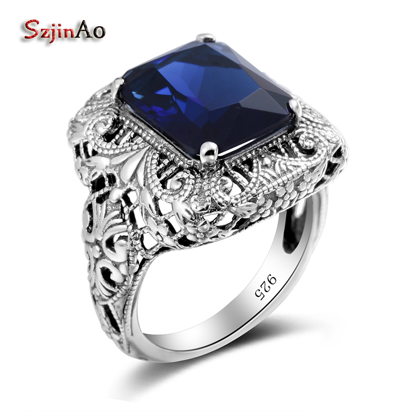 Szjinao Wholesale Flower Big 925 Sterling Silver Ring For Women Blue Stone Zircon vintage engagement Jewelry