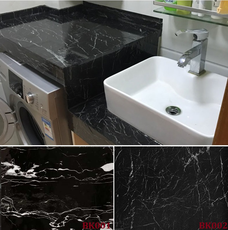 Black Marble Self Adhesive Wallpaper Furniture Tiles Kitchen