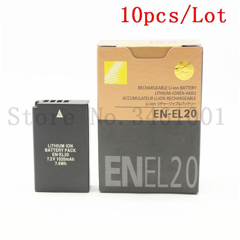 10pcs lot EN EL20 Digital batteries EN EL20 Camera Battery for Nikon Coolpix A 1 J1