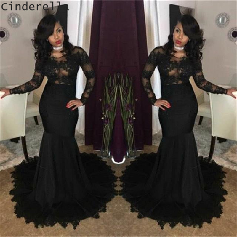Cinderella Black Scoop Long Sleeves Mermaid Court Train Lace Applique Satin Pleated   Prom     Dresses   Lace Trumpet   Prom   Party Gown