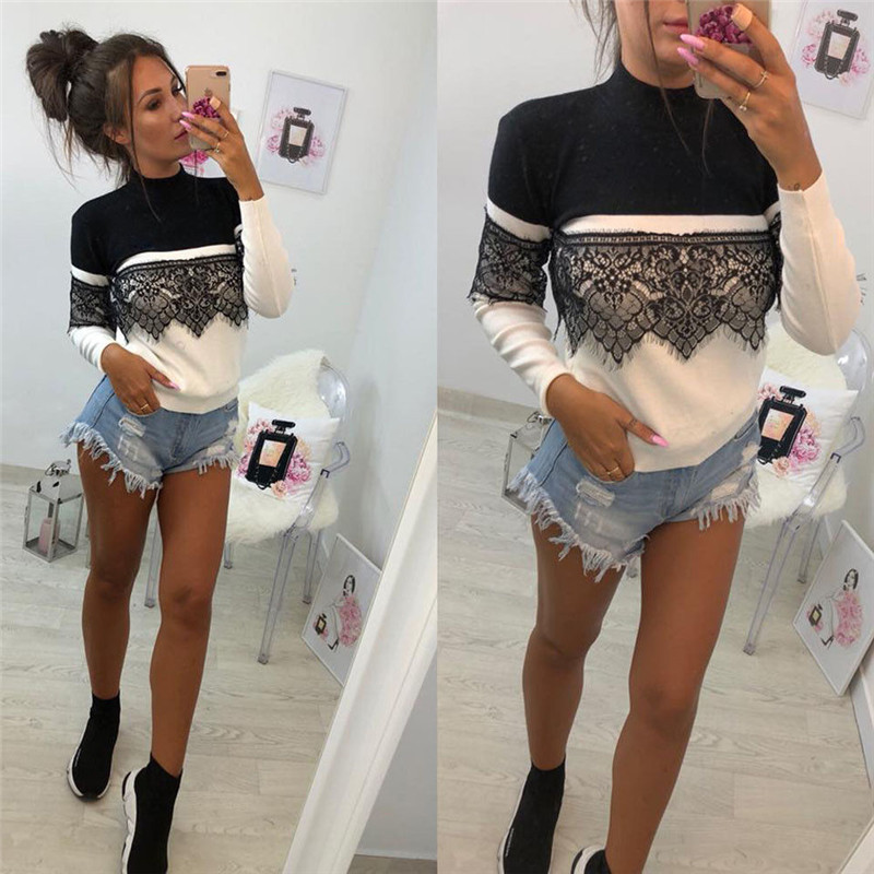 Brand New Women Lace   T     Shirt   Top Patchwork Long Sleeve Crew Neck Lace Up Slim Fit Long Sleeve Pullover Tops   t     Shirt   Tee