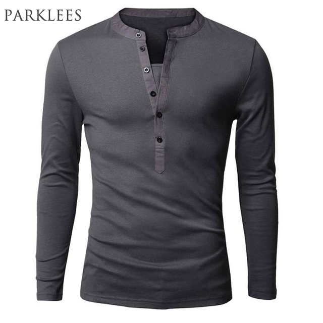 Unique t shirt men brand single breasted v neck long for Mens collared henley shirt
