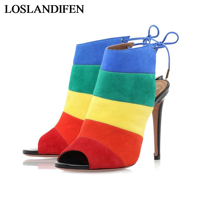 2018 Newest Rainbow Women Ankle Booties Sexy Peep Toe High Heels Lace Up Ladies Fashion Spring Party Sandals Shoes TL-A0032 newest design retro peep toe booties