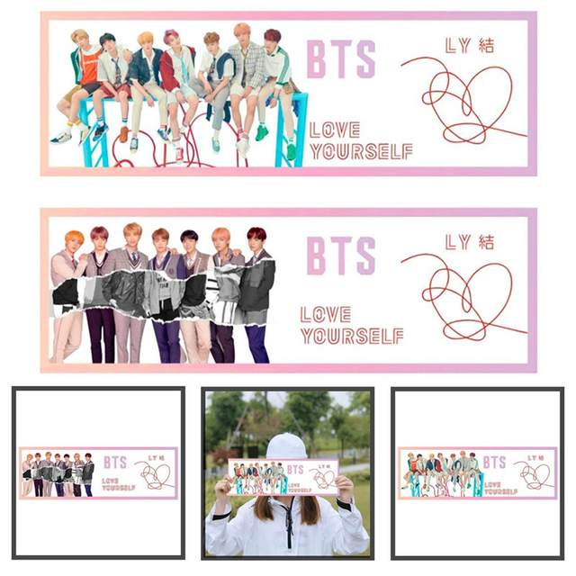 US $0 58 14% OFF|1Pcs Kpop BTS Love Yourself Answer Concert Airport Fabric  Banner Bangtan Boys Hang Up Poster Fans Gift Support Banner-in Banners,