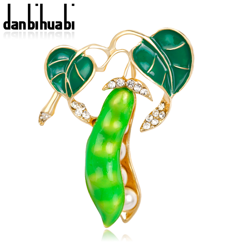 danbihuabi New Fashion enamel brooch pins crystal jewelry Vivid green lentils plant brooches for women christmas gifts