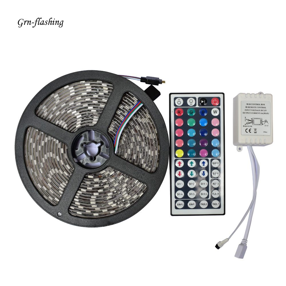 GRN-FALSHING 5m DC12V 5050 RGB LED Strip Light 60led/m led Tape IP65 Waterproof diode ribbon with 44Keys remote controller