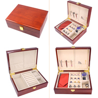 Luxury Wood Jewelry Storage Box Case For Cufflinks Tie Clips Ring Watch Gift Box Painted Wooden