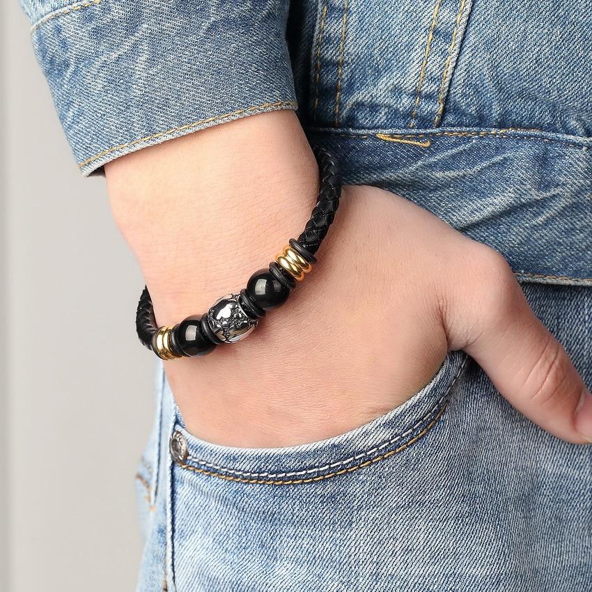 XQNI Stainless Steel Chain Bracelet Men Genuine Leather Bracelets Gold Ladies Black Color Leather Bracelet for women Cuff Buckle
