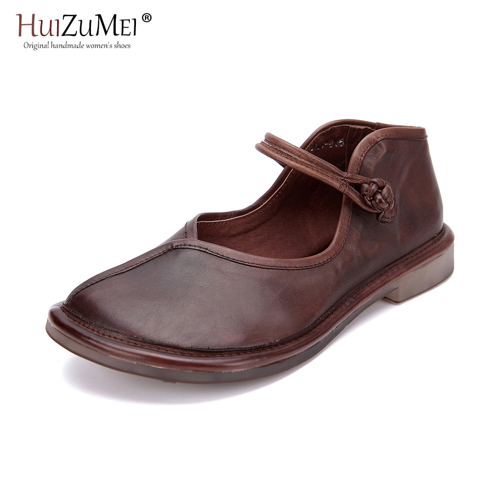 Shown Schuhe Leder Frauen Casual Sondern As as Hand Stilvolle Echtes made Huizumei Rot Shown Low Heels Pictures 2019 Wein Retro w8nHqzqC