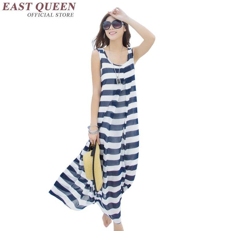 Woman Summer Beach Dress 2018 Woman Strips Tunic Beach Dress Female Beach Sundresses  KK298