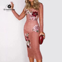 Женщина Bodycon платье 2018 Новая мода розовый карандаш платья Элегантный цветочный Вышивка Платье для вечеринки