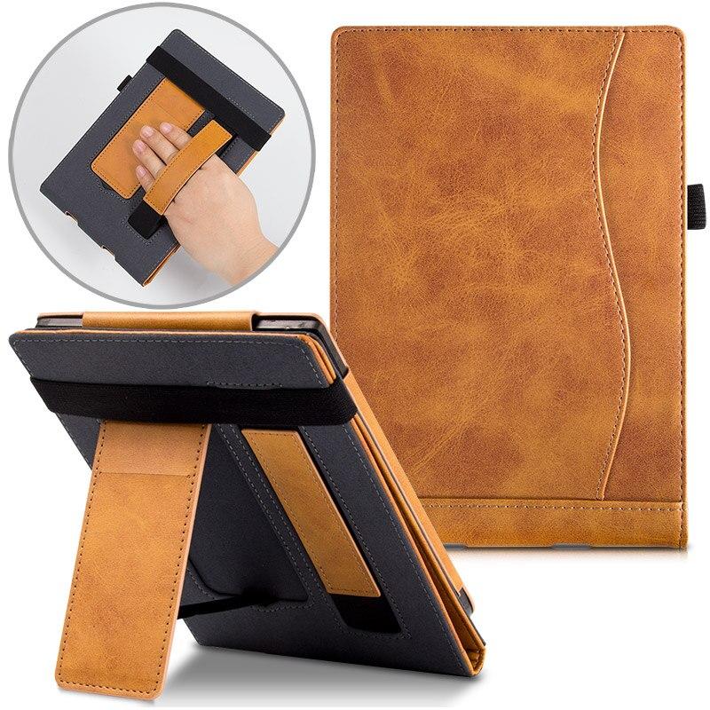 Funda BOZHUORUI compatible con pocketbook 616 627 632 eReader Touch Lux 4/Basic Lux 2/Touch HD 3 soporte portátil Funda de cuero