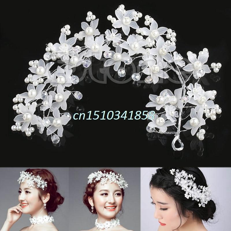 Svatební svatební Prom strana Faux Pearl květina Bílé vlasy pás kapuce Tiara Hot # Y51 #