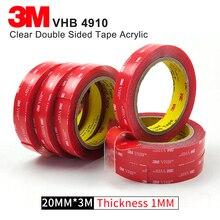 Прозрачная акриловая лента 3M VHB 4910 сверхпрочная Двухсторонняя клейкая лента, высокотемпературная прозрачная акриловая пенопластовая лента Размер 20 мм* 3 м