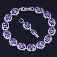 Stunning Oval Purple Cubic Zirconia 925 Sterling Silver Link Chain Bracelet 18cm 20cm For Women V0221