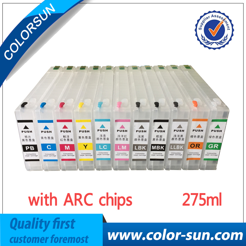 T6551-T6559 T655A T655B Empty Refillable Ink Cartridge With Reset Chip For Epson Stylus Pro 4910 Printer 275ML/PC chip reset for epson sc s30680 sc s50680 sc s70680 printer cartridge chip reset