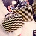 Charol verdadera Oferta Especial de La Raya Tronco Neceser Bolso Cosmético de Múltiples funciones de Moda Maquillaje Caja de Viaje Con Espejo maquillaje