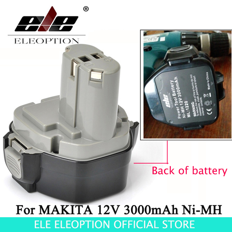 ELEOPTION HIgh Quality 12V 3000mAh Ni-MH Battery for MAKITA 1233 1234 1235 1235B 1235F 192696-2 192698-8 192698-A 193138-9 eleoption high quality 12v 3000mah ni mh battery for makita 1234 1235 1235f 193138 9 192698 a