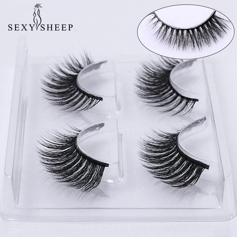 Image 2 - SEXYSHEEP 2 pairs natural false eyelashes fake lashes makeup kit 3D Mink Lashes eyelash extension mink eyelashes maquiagem-in False Eyelashes from Beauty & Health