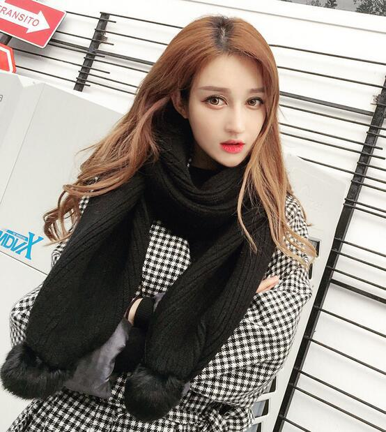 Winter wool knitted scarves scarlet rabbit fur ball thickening scarf collar women