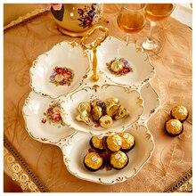 Keramik obstteller moderne kreative wohnzimmer Im Europäischen snack schüssel mehrschichtigen trockenfrüchte platte snack candy platte