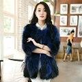 2016 New Korean Female Short Fox Fur Collar Nine Long Slim Raccoon Fur Coat