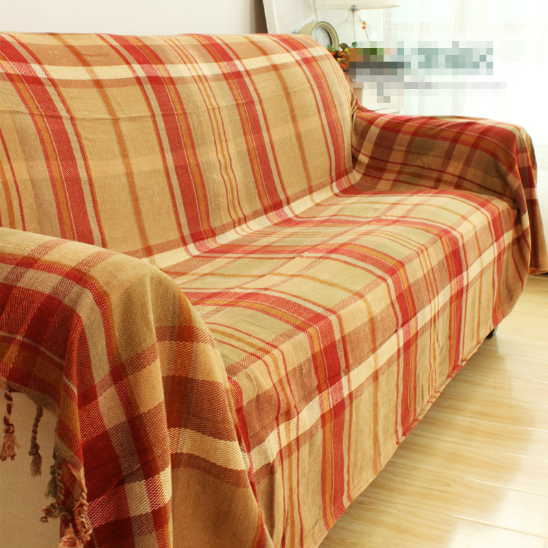 Free shipping American style Scotland plaid throw single/double size chenille boho sofa blanket bed blanket bed cover nordic style cotton thread blanket thicken woven bed spread throw sofa cover blanket free shipping