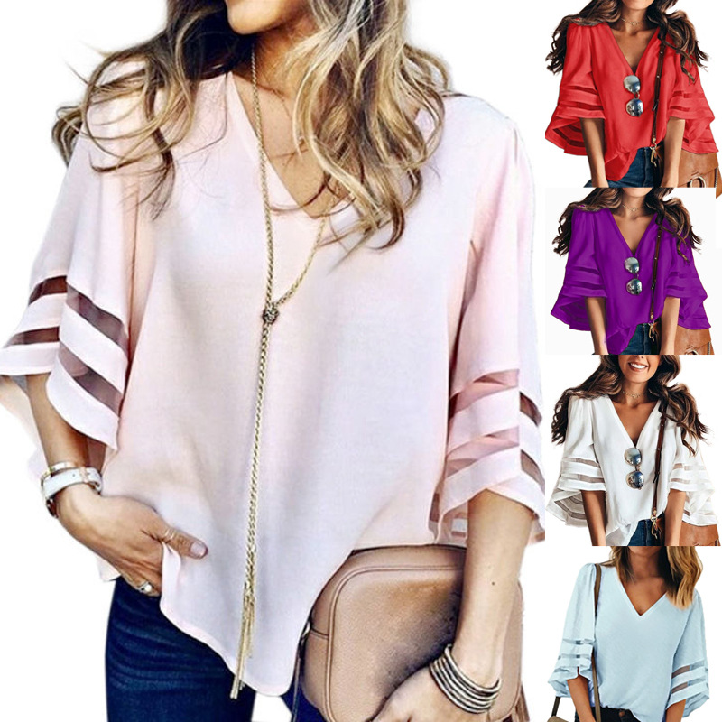 2019 Women European And American New Style Wind Loose L Mesh Panel V-neck Bell-Sleeve Solid Color Top