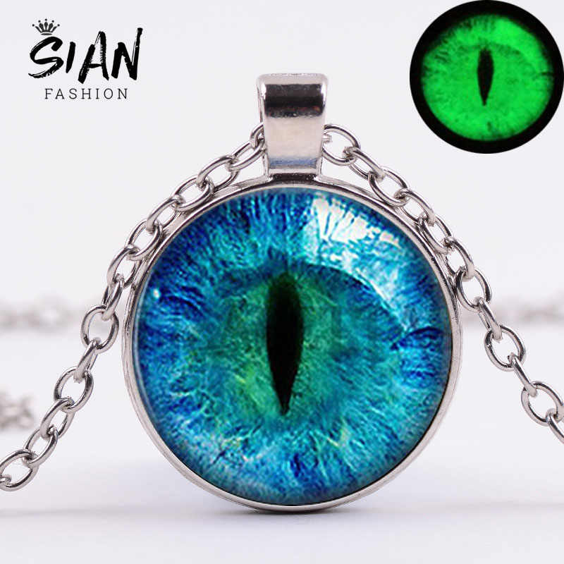 SIAN New Trendy Blue Dragon Eye Necklace Luminous Handmade Art Photo Glass Dome Metal Chain Pendant Necklace Men Gothic Jewelry