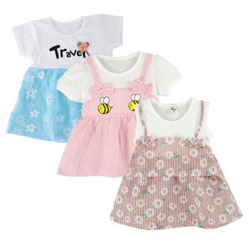 0-18M Cotton Baby Girl Clothing Sets , Braces Dress Printed Animal for Baby Girls Newborn Summer Dress Children kids Clothes