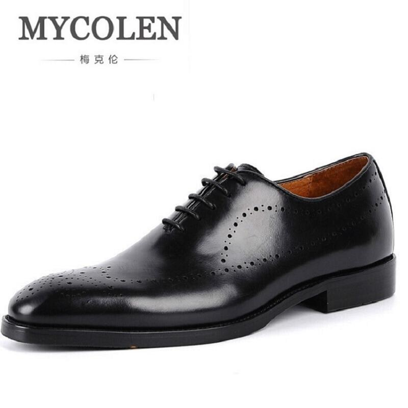 MYCOLEN Men Dress Shoes Genuine Leather Black Italian Fashion Business Oxford Shoes Classic Social Shoe Sapatos Masculinos