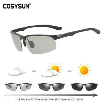 COSYSUN Brand Driving Glasses Photochromic Polarized Sunglasses Men Aluminum Sport Goggle Transparent Chameleon CS121