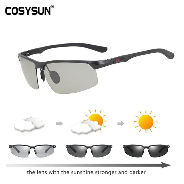 8039293f199 COSYSUN Brand Driving Glasses Photochromic Polarized Sunglasses Men Alumium  Sport Goggle Trend Light Color Lens Chamelen CS121