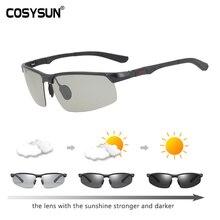 Cosysun marca óculos de condução photochromic polarizado óculos de sol dos homens de alumínio esporte óculos camaleão transparente cs121