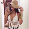 Lace Girl Women Crochet Crop Top 2017 Sexy Halter Neckline Lined Cups Tassel Hem Kintted Bra Regata Cover Up For Bikini Beach