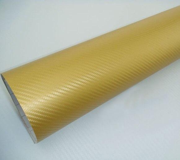 Высокое качество 3D виниловая наклейка из углеродного волокна для автомобиля 3D углеродная оберточная наклейка с воздушными пузырьками 1,52*5 м/рулон - Название цвета: Gold