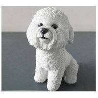 Quality bichon frise model craft,artificial puppy doggy,home room desk car decoration,party gift friends poodle dog fan figure