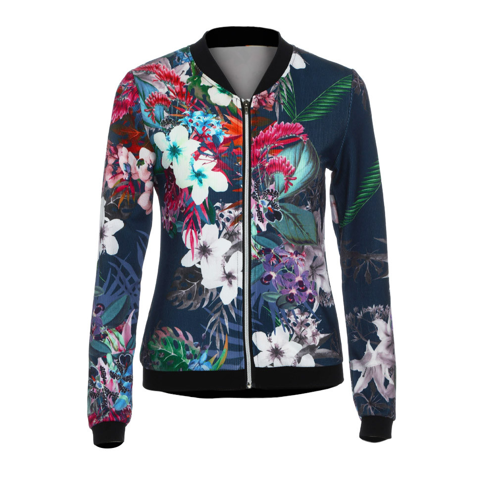 Womens Fashion Korean Slim Cotton Autumn Casual Jacket Coat Ladies Biker Celeb Camo Flower FLoral Print Zipper Up Bomber Jacket